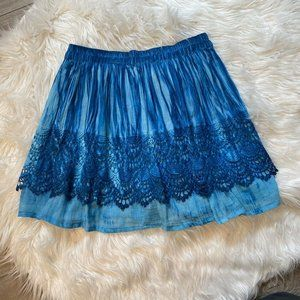 Raga Boho Mini Skirt Tiered Medium Blue Crochet